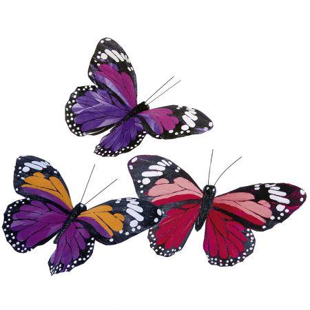 Σετ 18τμχ Διακοσμητικές πεταλούδες κόκκινο - λιλά , 17cm
