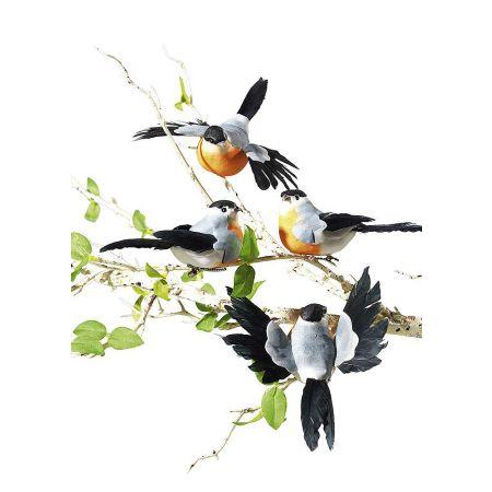 Σετ 8 τεμαχίων διακοσμητικά πουλιά, κατασκευασμένα από σκληρό αφρώδες υλικό