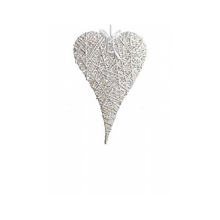 Διακοσμητική κρεμαστή καρδιά ψάθινη bamboo λευκή 24x35cm