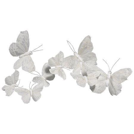Σετ 9 τεμαχίων πεταλούδες λευκό, 10-15cm