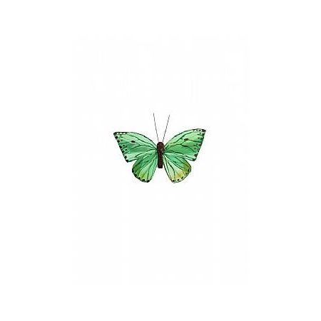 Διακοσμητική πεταλούδα με κλιπ Πράσινη 10cm