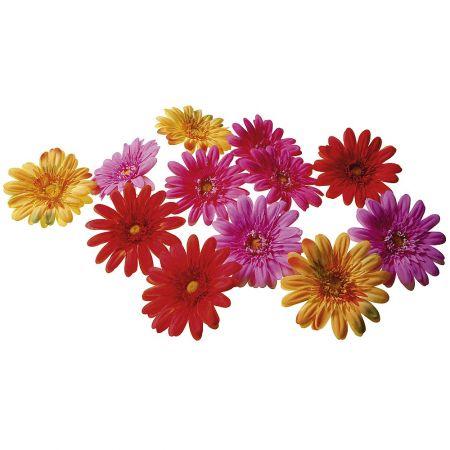 Σετ 12τχ διακοσμητικά άνθη Ζέρμπερας, 17cm