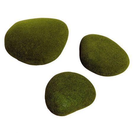 Σετ 3τχ διακοσμητικές τεχνητές πέτρες με βρύα 20-30cm
