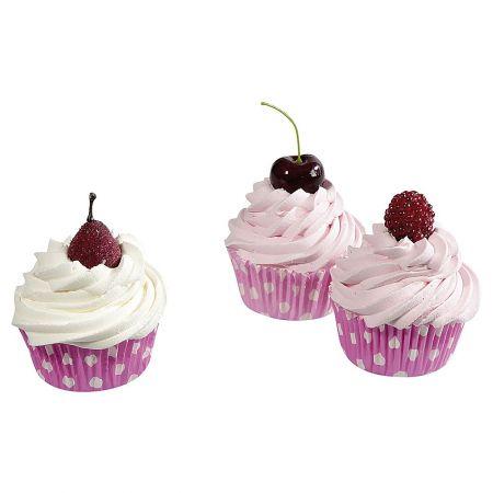 HQ Σετ 3τχ Διακοσμητικά Cupcakes Ροζ 8cm