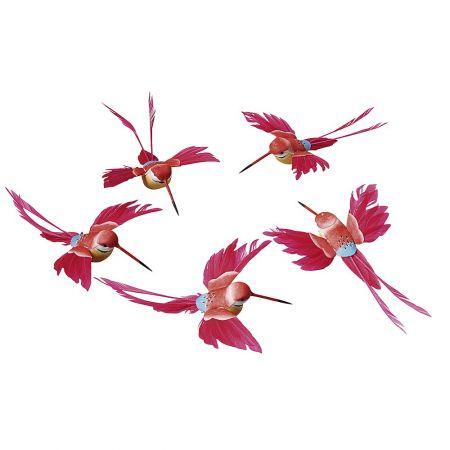 Σετ 5τμχ. Διακοσμητικά πουλάκια Κόκκινο, 16cm