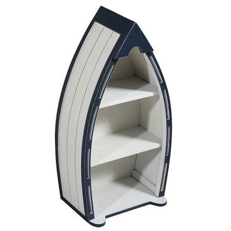 Διακοσμητική βιβλιοθήκη - βάρκα Λευκή - Μπλε 50cm