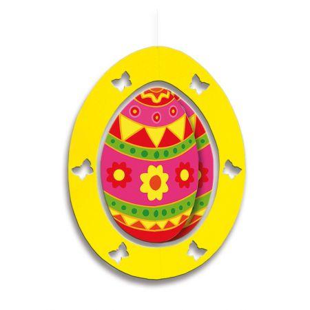 Διακοσμητικό Πασχαλινό κρεμαστό αυγό κίτρινο 62x48cm
