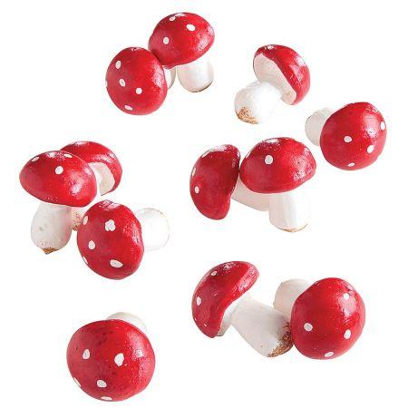 Σετ 12τχ Διακοσμητικά μανιτάρια mini Κόκκινο - Λευκό 5cm