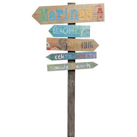 Διακοσμητική ξύλινη ταμπέλα - πινακίδα με βέλη κατεύθυνσης 160x86cm