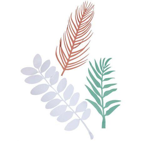 Σετ 3τχ διακοσμητικά φύλλα ζούγκλας χάρτινα σε 3 χρώματα κ σχέδια