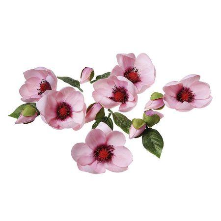 Σετ 18τχμ διακοσμητικά άνθη μπουμπούκια και φύλλα Μανόλιας Ροζ - Πράσινο 6cm