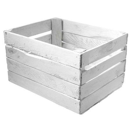 Διακοσμητικό κουτί - καφάσι vintage Λευκό 50x40x30cm