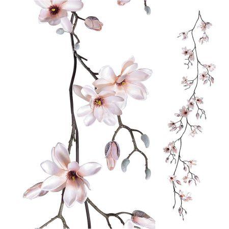 Διακοσμητική γιρλάντα με άνθη μανόλιας Ροζ 180cm