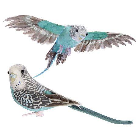 Σετ 2τχ διακοσμητικά παπαγαλάκια Budgie, Μπλε 20cm