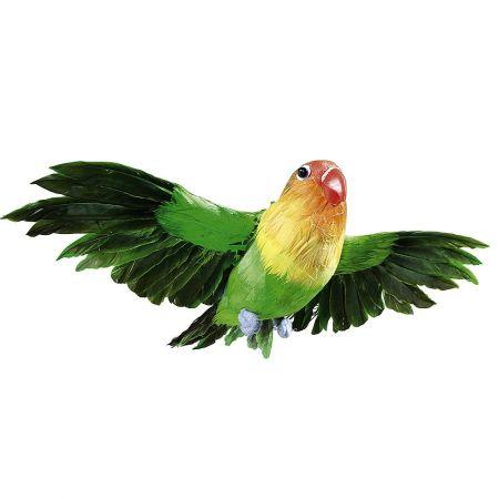 Διακοσμητικό παπαγαλάκι με ανοιγμένα φτερά, Πράσινο 20cm