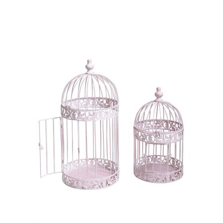 Σετ 2τχ Διακοσμητικά κλουβιά Ροζ 45x24cm, 60x27cm