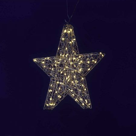 Διακοσμητικό αστέρι με LED ασημί, 38cm