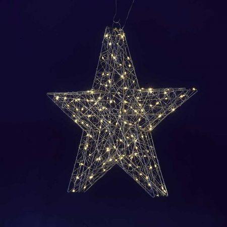 Διακοσμητικό αστέρι με LED ασημί, 58cm