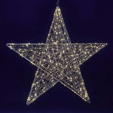 Διακοσμητικό αστέρι με LED ασημί, 78cm