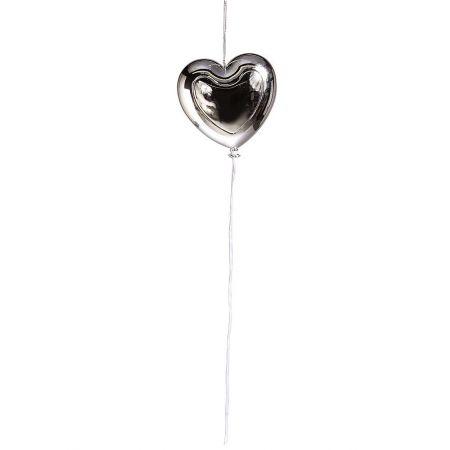 Διακοσμητικό μπαλόνι καρδιά Ασημί μεταλλικό 20cm