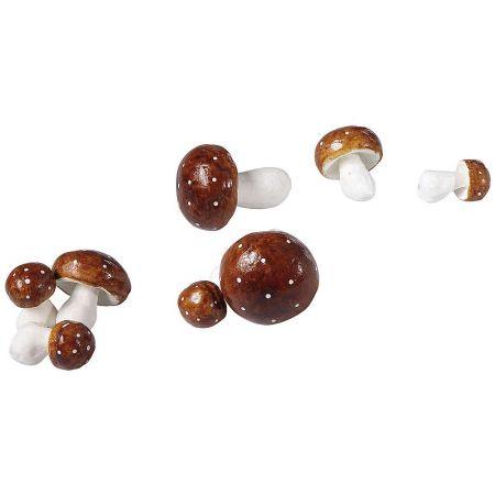Σετ 8τχ διακοσμητικά μανιτάρια Καφέ - Μπεζ 7-12cm