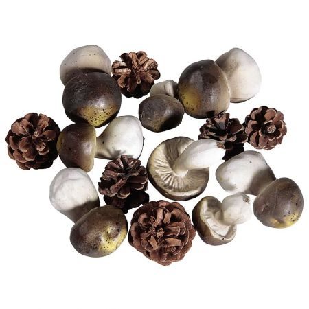 Σετ 14τχ Διακοσμητικά μανιτάρια και κουκουνάρια 4-10cm