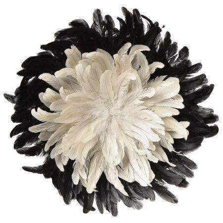 Διακοσμητικό τοίχου με φτερά Λευκό - μαύρο 50cm