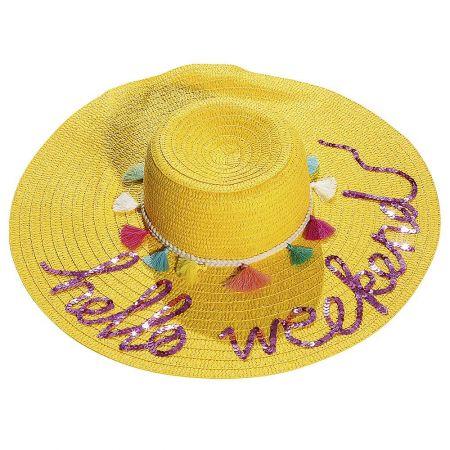 Ψάθινο καπέλο -HELLO WEEKEND- με πομ - πομ και παγιέτες 49cm