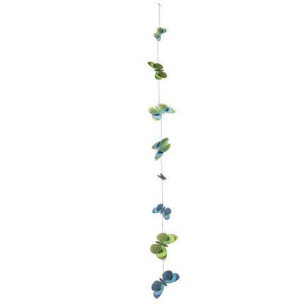 Σετ 2τχ διακοσμητικές γιρλάντες με πεταλούδες Πράσινες 120cm