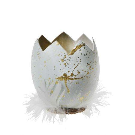 Πασχαλινό αυγό σπασμένο με φτερά Γαλάζιο - Χρυσό 14cm