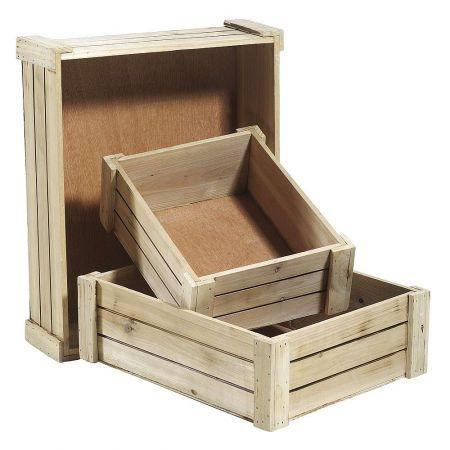 Σετ 3τχ ξύλινα κιβώτια καφάσια Φυσικά 12x40x32,5cm