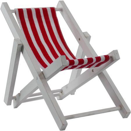 Διακοσμητική mini καρέκλα παραλίας Κόκκινη - Λευκή 16x18x12cm