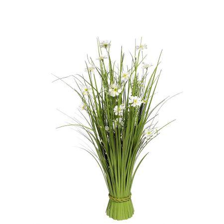 Διακοσμητική δέσμη με γρασίδι και λουλούδια 70cm