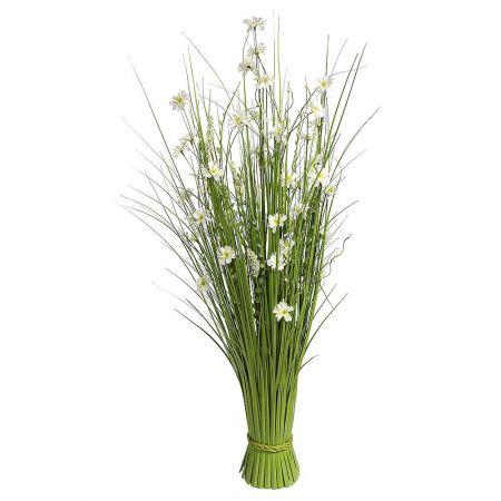 Διακοσμητική δέσμη με γρασίδι και λουλούδια 100cm