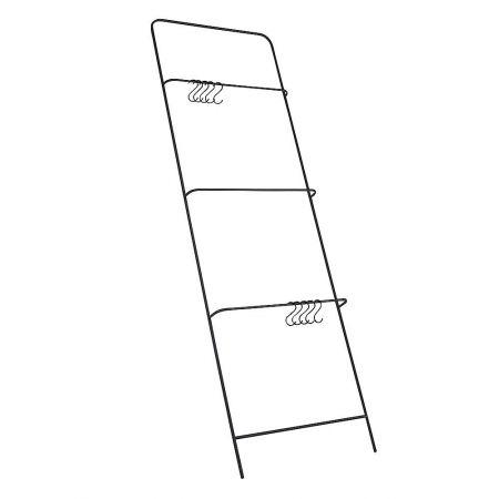 Μεταλλικό σταντ - σκάλα με 10 γάντζους Μαύρο 193x60x8cm