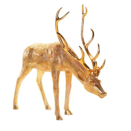 XL Διακοσμητικό ελάφι με σκυμμένο λαιμό Χρυσό 140x53x162cm