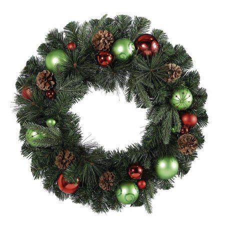 Χριστουγεννιάτικο στεφάνι με μπάλες και κουκουνάρια, 60cm