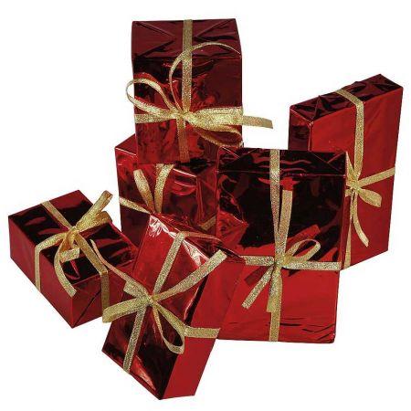 Σετ 6τμχ. κουτιά δώρου κόκκινα, 9-15cm