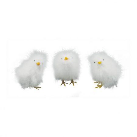 Σετ 3τχ διακοσμητικά κοτοπουλάκια Λευκά 12cm