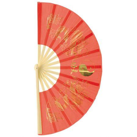 Διακοσμητική Χάρτινη βεντάλια με Κινέζικα σχέδια Κόκκινη 62cm