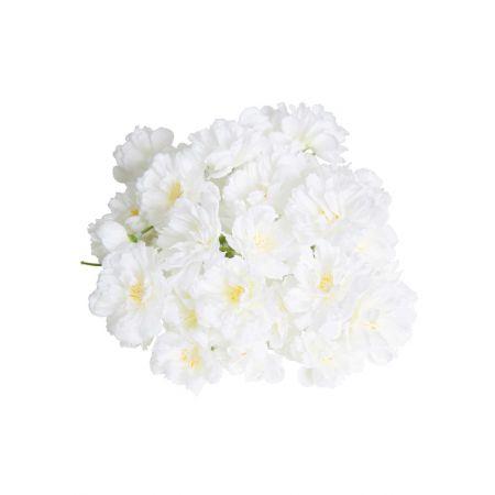 Σετ 72τχ διακοσμητικά άνθη κερασιάς Λευκά 4cm