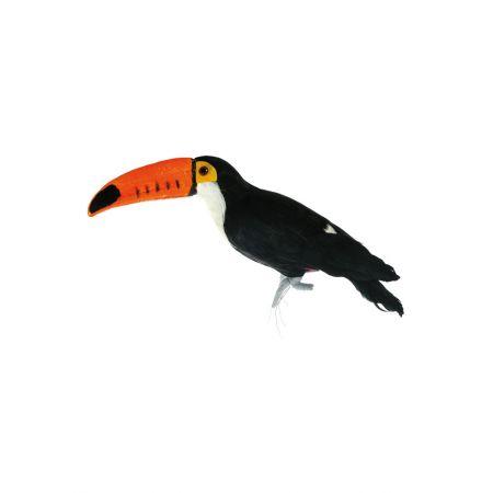 Διακοσμητικό τροπικό πουλί Τουκάν Μαύρο - Πορτοκαλί 36x16x9cm