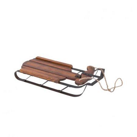 Διακοσμητικό ξύλινο έλκηθρο με μεταλλική βάση 45cm