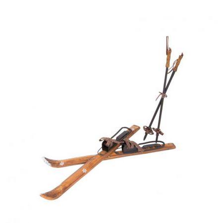 Ζευγάρι ξύλινα πέδιλα του σκι και μπατον Vintage 180cm