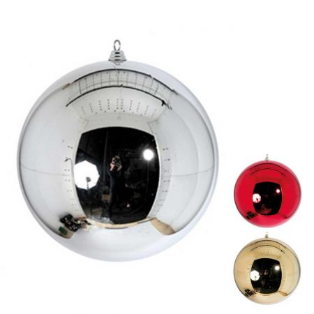 XXL Διακοσμητική χριστουγεννιάτικη μπάλα Ασημί γυαλιστερή 60cm