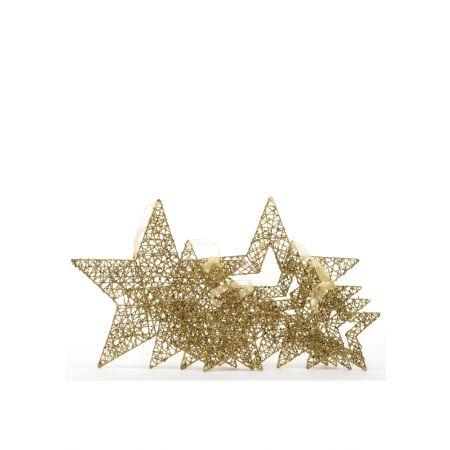 Σετ 4τχ μεταλλικά αστέρια Χρυσά με κενό στη μέση και glitter 40cm 30cm 25cm 20cm