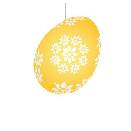 Πασχαλινό κρεμαστό αυγό χάρτινο Κίτρινο 30cm
