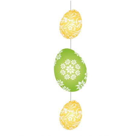 Διακοσμητική γιρλάντα για το Πάσχα με 3 αυγά Πράσινο - Κίτρινο 75x20cm