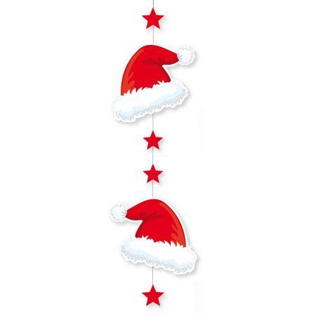 Διακοσμητική Χριστουγεννιάτικη χάρτινη γιρλάντα με σκούφους και αστέρια 85x27cm