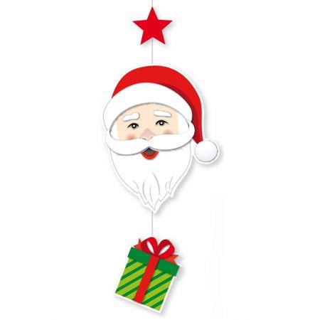 Διακοσμητική Χριστουγεννιάτικη χάρτινη γιρλάντα με  Άγιο Βασίλη, δώρο και αστέρι 80x29cm